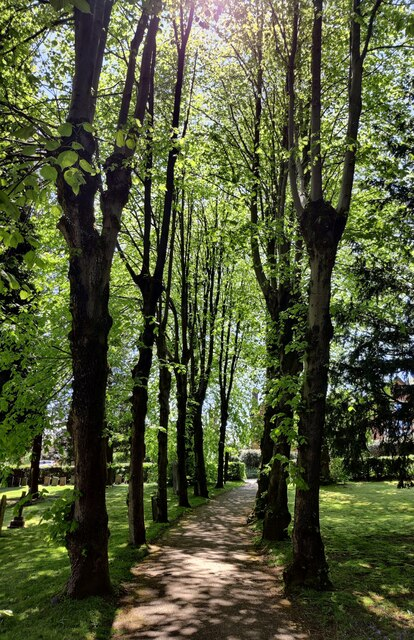 Path through the graveyard of Holy Trinity Church, Lickey