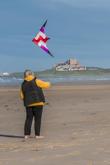 Kite flying on Ross Back Sands