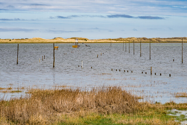Holy Island causeway at high tide