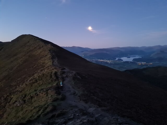 View across to Long Side from Ullock Pike & Keswick under moonlight
