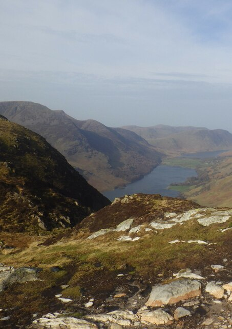 Fleetwith Pike summit with view over Buttermere