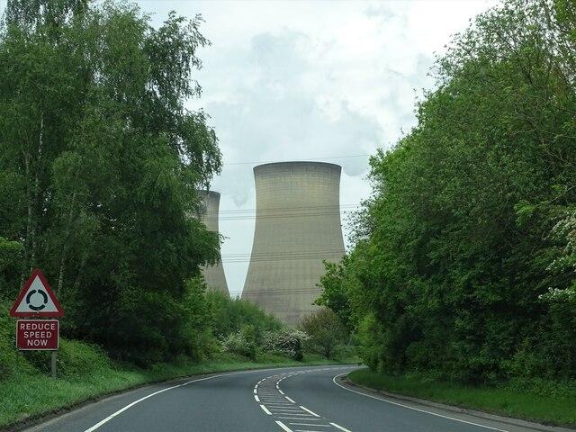 A645 towards Drax powerstation