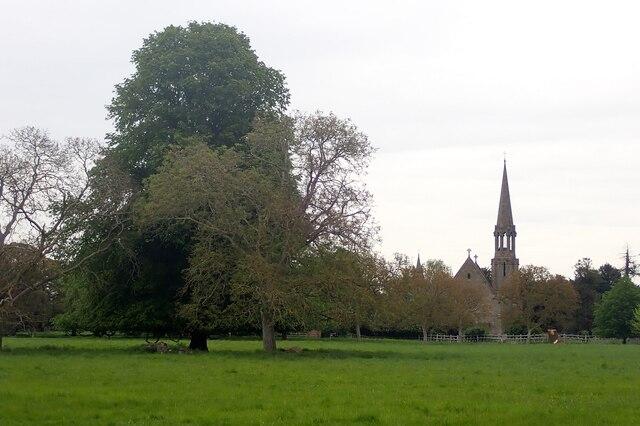 Charlecote Estate - Church of St Leonard from Ha-ha Walk