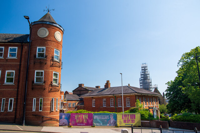 Cathedral Street Apartments and St Hugh's Church, Lincoln