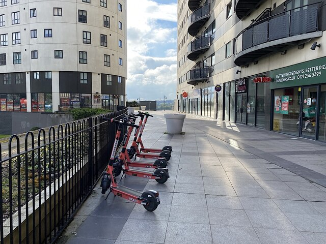 Electric scooters for hire, Masshouse Plaza, Birmingham