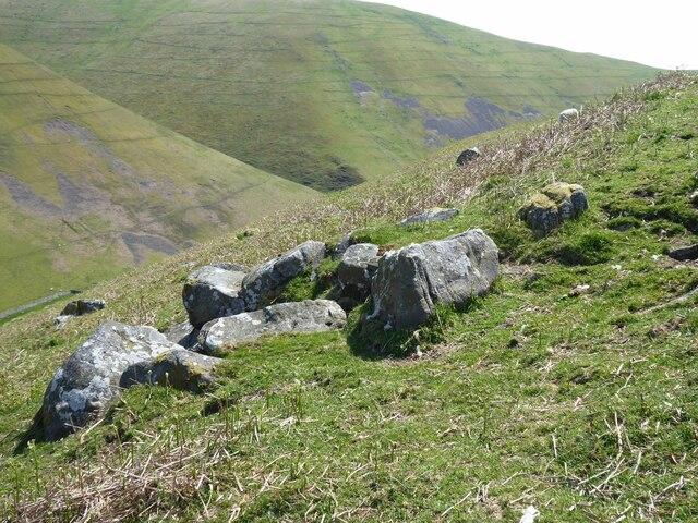 Rocks on the hillside above Batailshiel Haugh