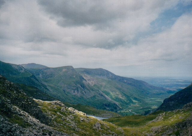 Bwlch Tryfan with the peaks of the Northern Glyderau in the background