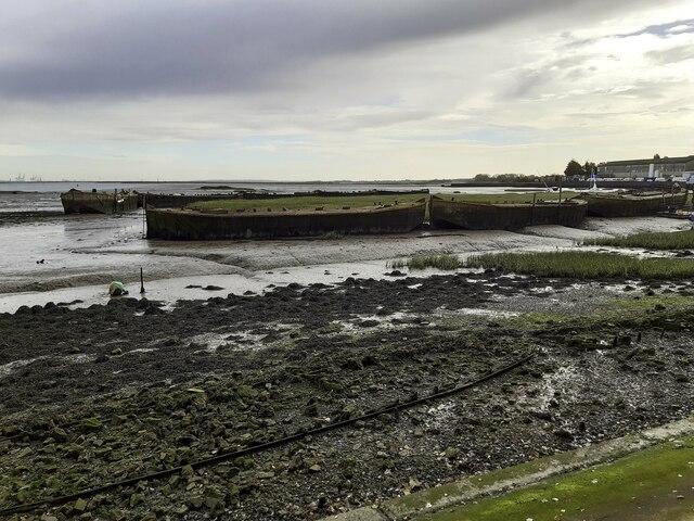 Derelict barges on Gillingham Marshes
