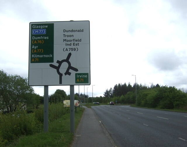B7064 approaching Moorfield Roundabout