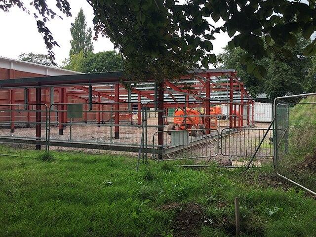 Sea Scouts clubhouse under construction a second time, St Nicholas Park, Warwick