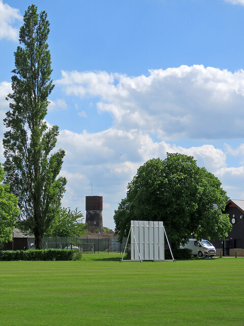Cottenham: cricket ground and water tower