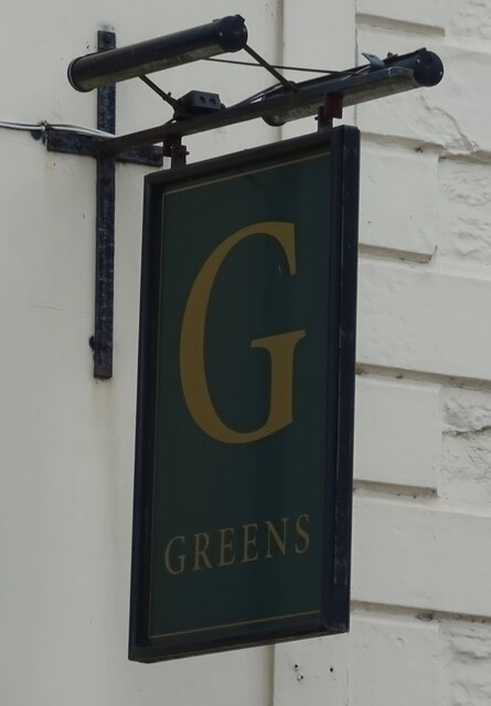 Sign for Greens public house, Dumfries