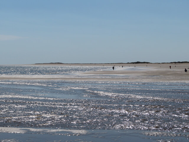 Burry Port beach at low tide, looking west