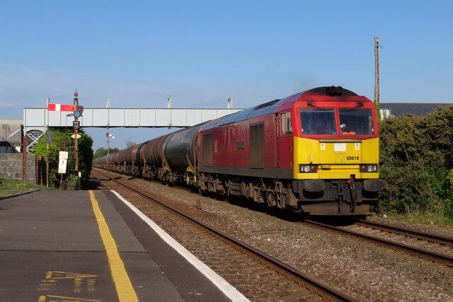 Oil train at Pembrey & Burry Port station