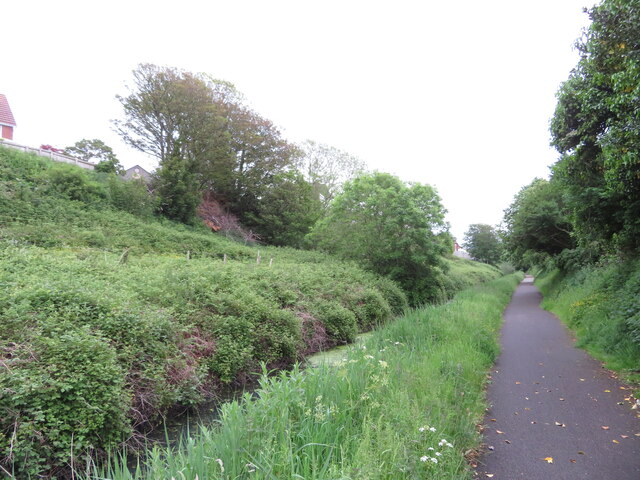 Former canal and railway route in Pembrey