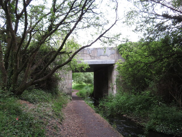 Former canal and railway route in Burry Port