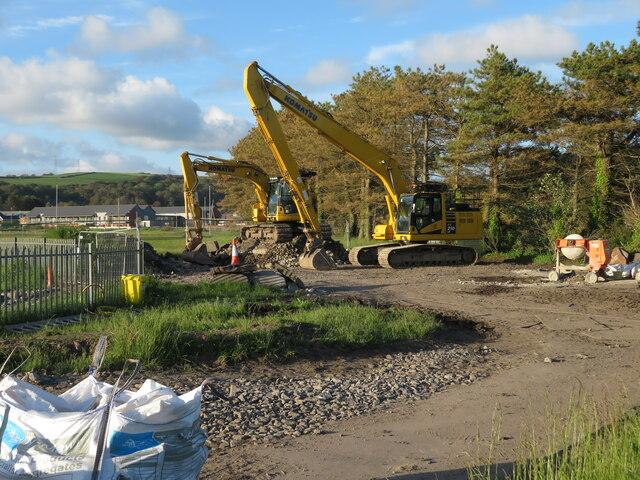 Construction machines near Burry Port harbour