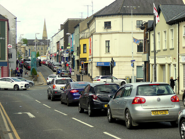 Queuing along Market Street, Omagh