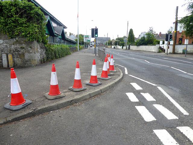 Traffic cones along Dublin Road, Omagh