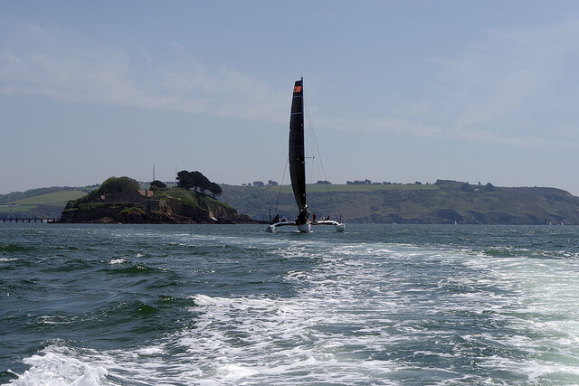Trimaran in Plymouth Sound