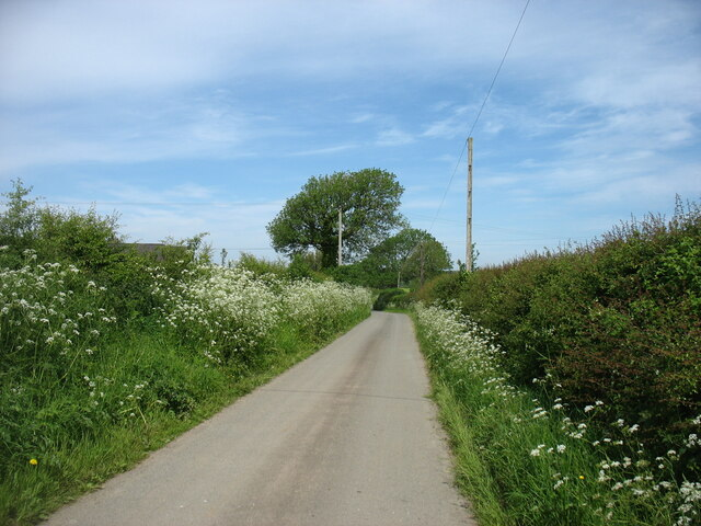 A country lane leading to Brynsiencyn