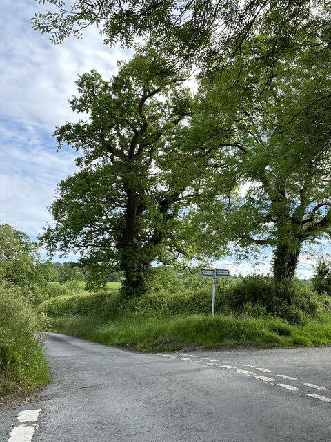 Road junction near Penybanc