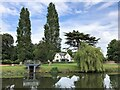 TL2470 : Riverside house and garden in Godmanchester by Richard Humphrey