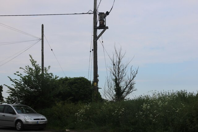 Electric and telephone poles on East Road, East Mersea
