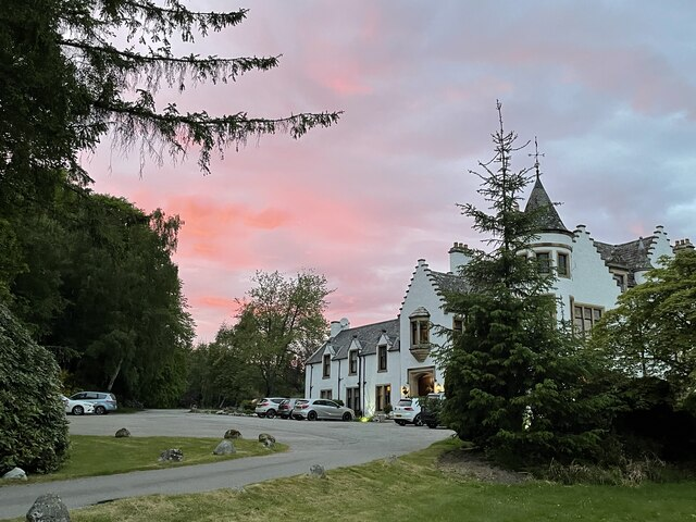 Kincraig Castle Hotel at sunset
