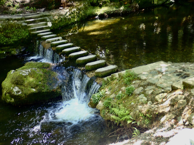 Restored weir and stepping stones below. Parnell's Bridge
