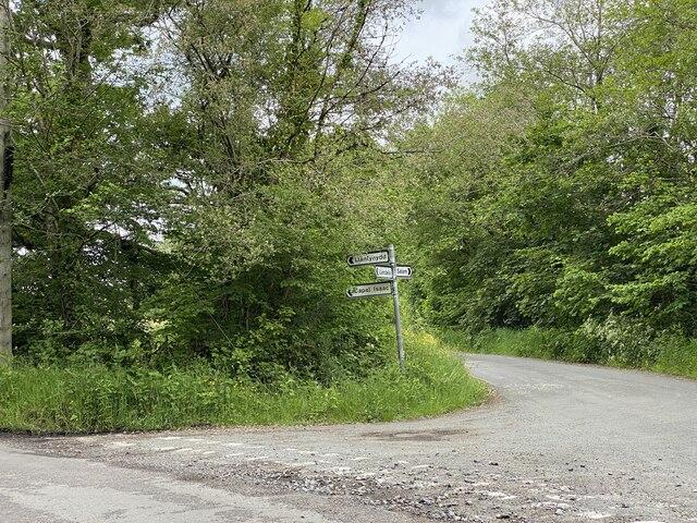 Road junction near Pantgwyn
