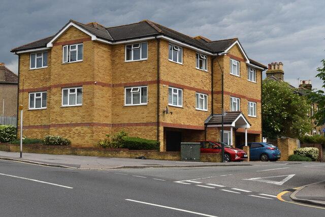 Modern apartment building on the corner of Grosvenor Road