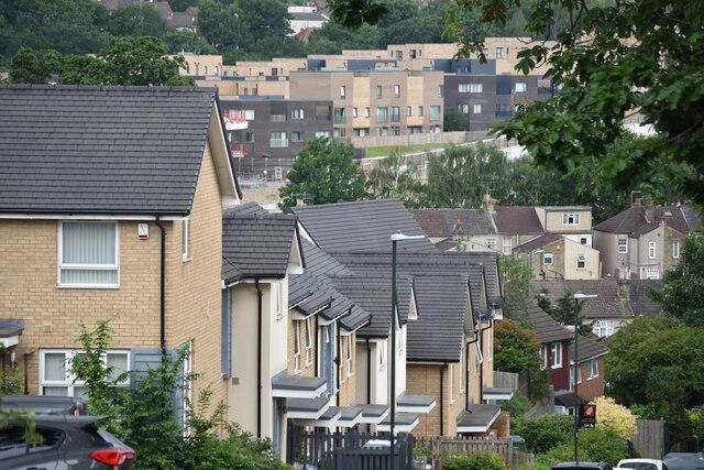 Modern housing developments at Lessness Heath