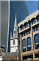 TQ3380 : City of London : tower and spire, Margaret Pattens Church by Jim Osley
