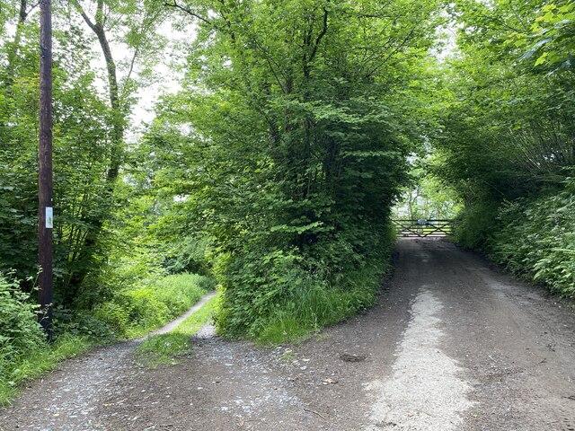 Track junction near Grongar Farm
