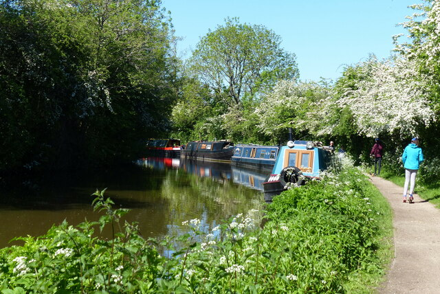 Narrowboats moored along the Worcester and Birmingham Canal