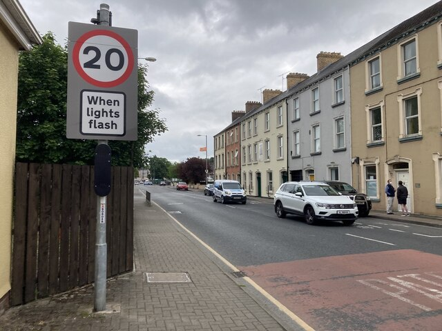 20mph flashing warning sign, Omagh