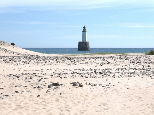 First view of the lighthouse at Rattray Head