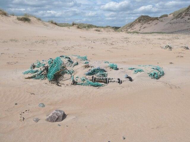 Marine rubbish on the beach at Rattray Head