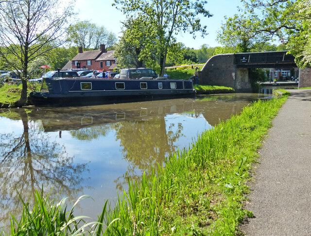 Narrowboat next to Withybed Lane Bridge No 61