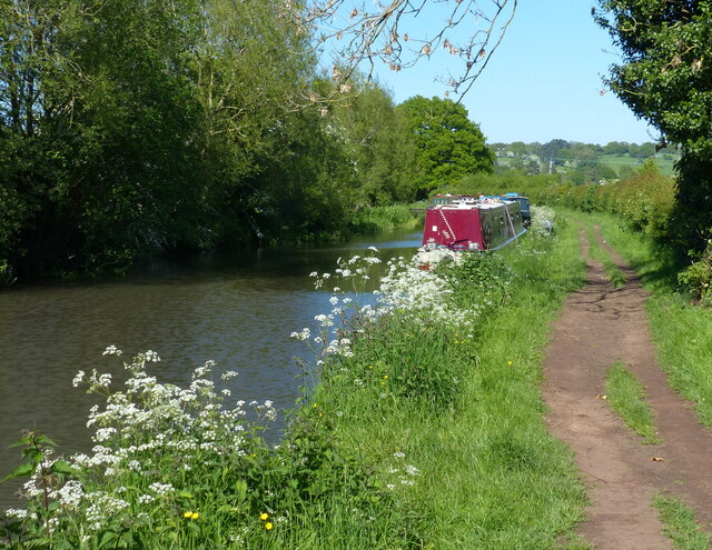Narrowboat moored along the Worcester and Birmingham Canal