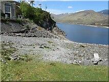 NH2230 : Glen Cannich - Southern shoreline of Loch Mullardoch at Mullardoch Power Station by Peter Wood