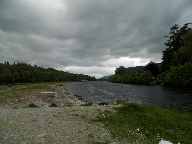 Towards Loch Dochfour from the entrance to the Caledonian Canal by Douglas Nelson