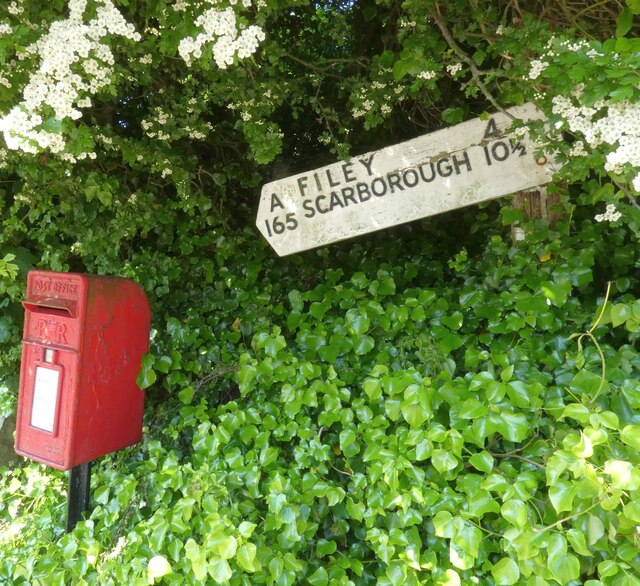 Old fingerpost and postbox