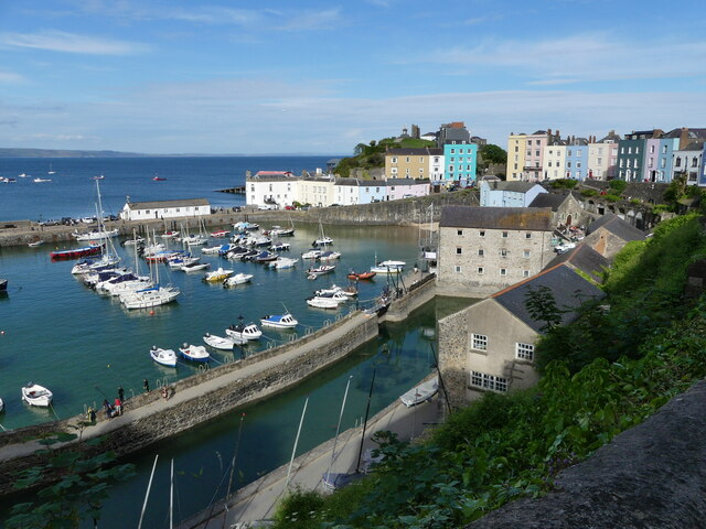 Tenby harbour seen from Crackwell Street