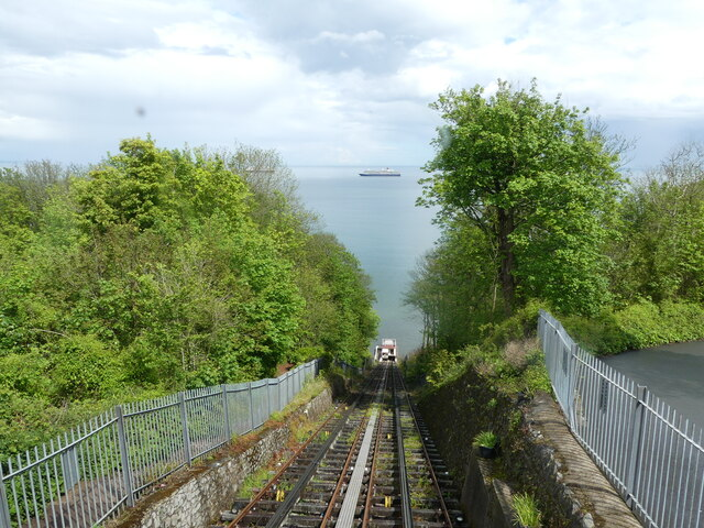 Babbacombe cliff railway - looking down the track