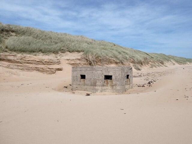 World War II pillbox on the beach at Lunderton