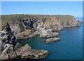 NK1138 : Colourful coastal rocks, North Haven by Bill Harrison