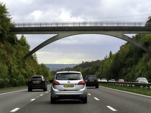 The M25 runs under Polhill Footbridge