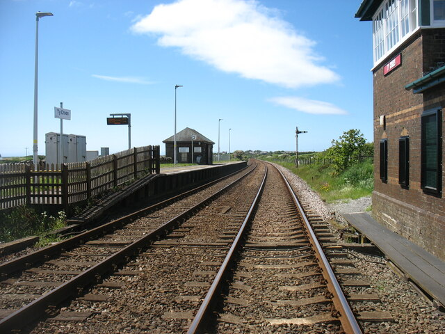 The main line approaching Holyhead